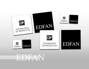 Etiqueta Distribuidor de Productos EDFAN para vidriera